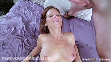 Gorgeous milf with big tits, Syren Damer is having sex with three guys at the same time