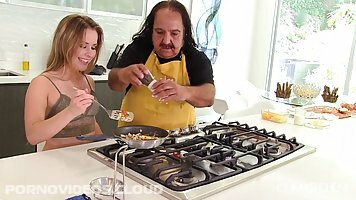 Ron Jeremy is fucking Lilly Ford in the kitchen, instead of making lunch with her